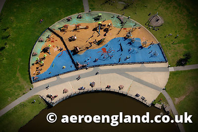 aerial photograph of playground in Central Forrest Park,Stoke  Staffordshire England UK