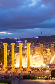 City of Barcelona with font Magica at night, Spain