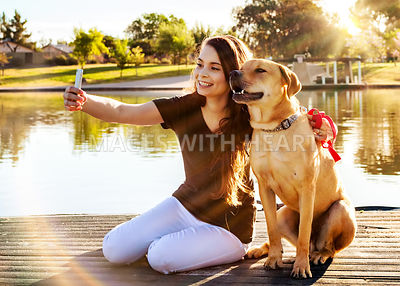 Girl and Dog Selfie at Park