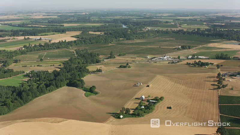 Oregon Aerial shot of Willamette Valley farmlands.  Shot with Cineflex and RED EpicW Helium.