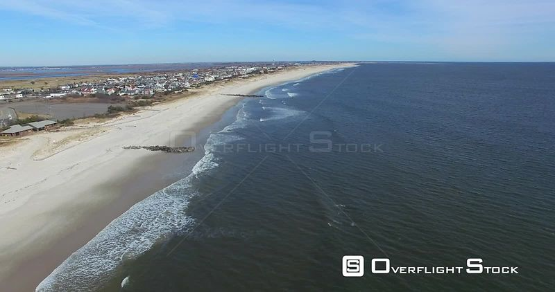 Static Drone Video of the East Coast Atlantic Ocean at Lido Beach New York