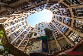 Courtyard of Casa Mila by Gaudi, Barcelona, Spain