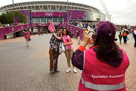 Wembley Stadium Volunteer Photographs Olympic Visitors