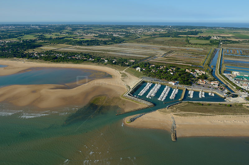 Aerial view of Saint Denis Harbour, Oléron Island, Charente-Maritime, France, Atlantic Coast. July 2017.