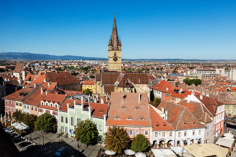 Elevated View of Protestant Church of the German Saxon Minority