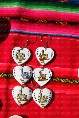 Heart shaped Salar de Uyuni salt key rings for sale on souvenir stall, Colchani, Bolivia