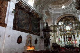 Original oil paintings showings scenes of life of San Santiago and wooden pulpit in church of Santiago the Apostle / Immaculate Conception, Lampa, Peru