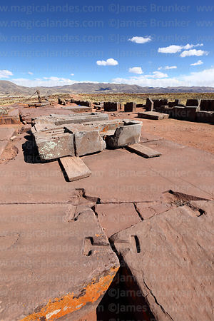 Stone blocks with grooves for metal clamps to join them together, Puma Punku temple, Tiwanaku, Bolivia