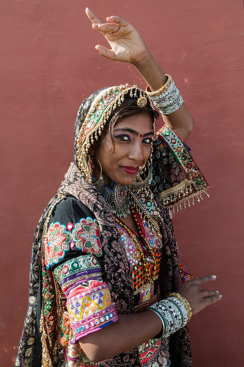 Rajasthani Woman in Traditional Outfit