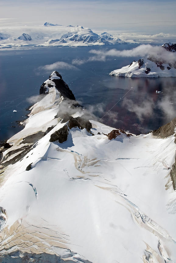 Aerial view of coast of Antarctic Peninsula. February 2008. Taken on location for BBC tv series 'Life'
