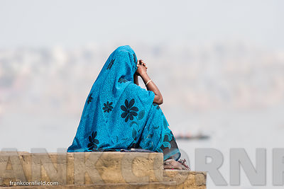 Woman in blue sari at varanasi