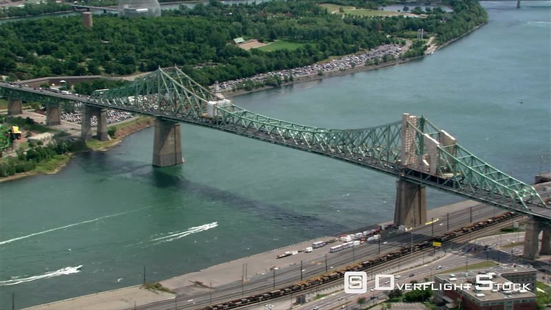 Flying over Jacques Cartier Bridge in Montreal, Quebec.