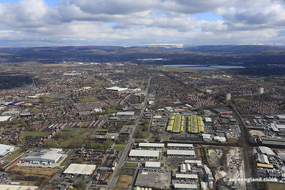 aerial photograph of Openshaw  East Manchester looking towards Droylesden and Dukinfield  along Ashton Old Road, Manchester M11 2NA