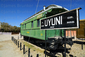 Vintage R11 carriage and sign with altitude outside railway station, Uyuni, Bolivia