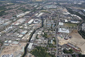 Sheffield looking up the Don Valley Industrial Area towards Meadowhall and the M1 motorway