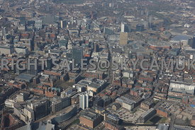 Manchester high level view of Piccadilly Gardens and the city centre,