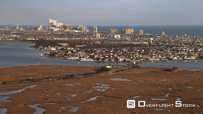 Approaching Atlantic City, New Jersey from marshland. Shot in November