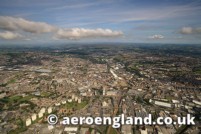 aerial photograph of Bradford Yorkshire England UK