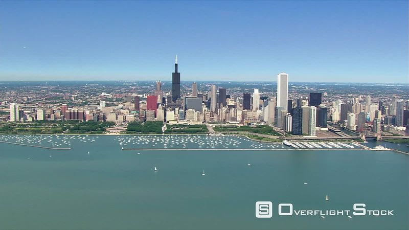 Aerial view of Chicago skyline from Lake Michigan.