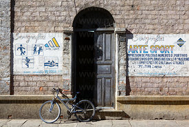 Bicycle parked outside sports shop , Tarija , Bolivia