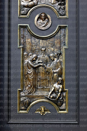 Bronze relief on main entrance of cathedral, La Paz, Bolivia