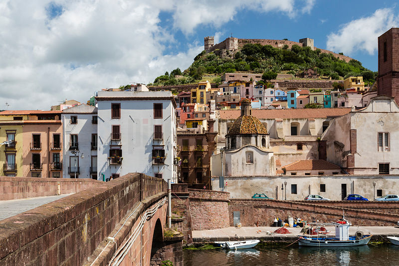View of the Old Town of Bosa from the Ponte Vecchio