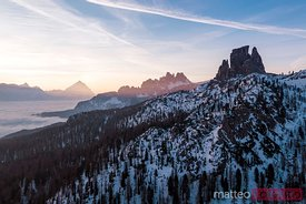 Aerial view of sunrise over mountains, Italy