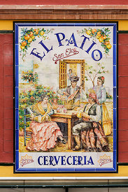 Cafe entrance with Azulejos ceramic tile name plate