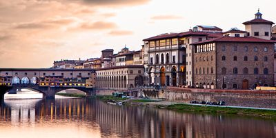 Sunset on Ponte Vecchio in Florence