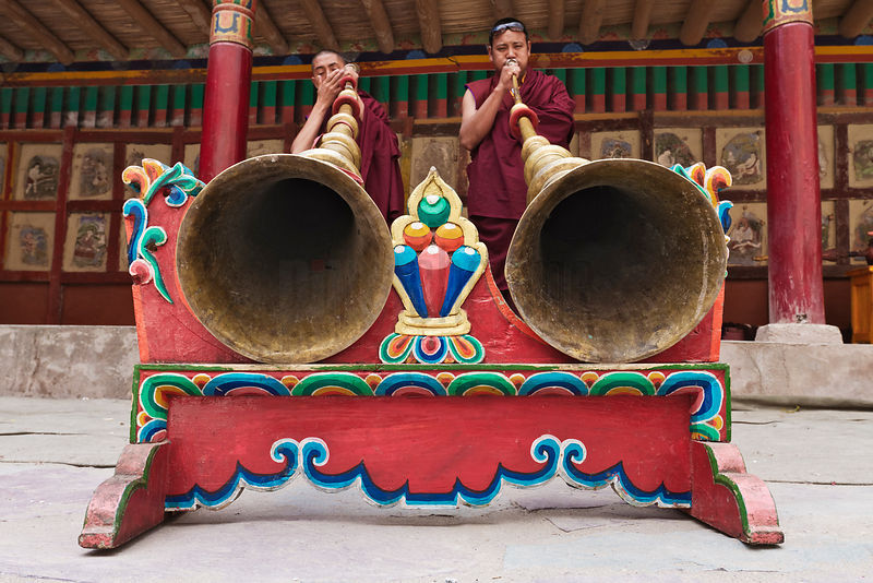 Monks Playing Tibetan Horns (Dung Chen)