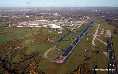 aerial photograph of Manchester airport UK
