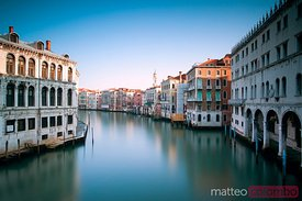 Grand canal on the least famous side, at sunrise Venice Italy