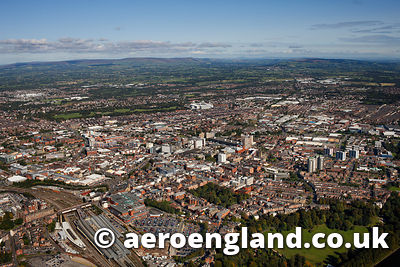 aerial photograph of Preston  Lancashire England