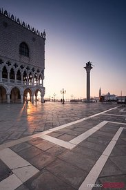 Sunrise over ducal palace in St Mark's square, Venice, Italy