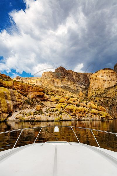 View of Canyon Lake Arizona From Boat Bow