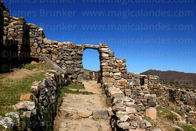 Stone doorway in the Chincana Inca ruins, Sun Island, Lake Titicaca, Bolivia
