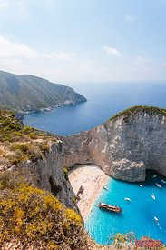 Elevated view of shipwreck beach. Zakynthos, Greece