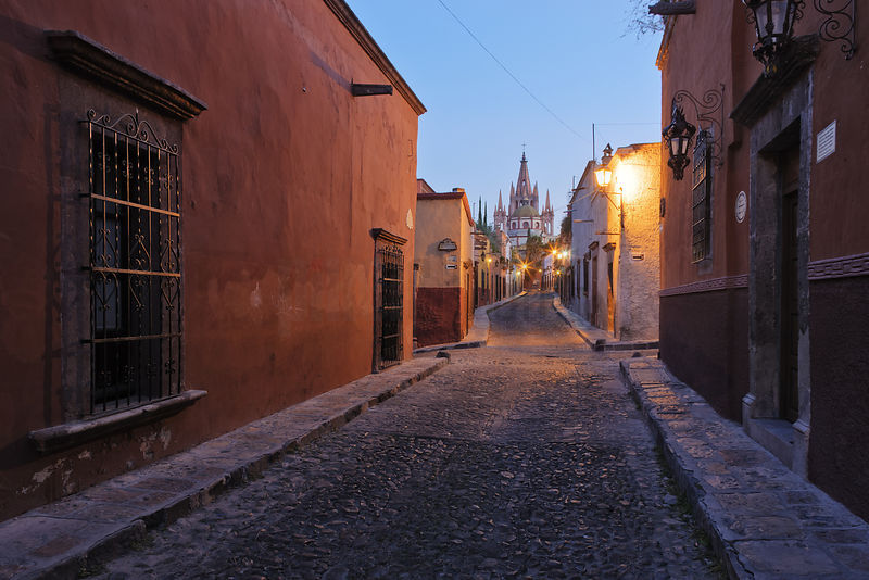 Cobblestone Street at Dawn