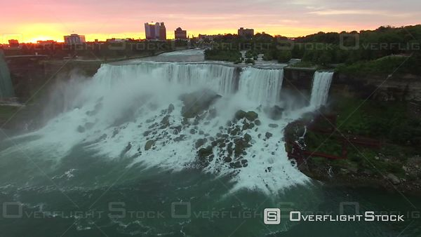 4k Aerial of Canadian Horseshoe Falls Niagara Falls at Sunrise