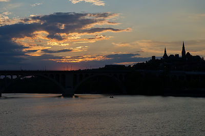 The sun sets on a Potomac River cruise in Washington DC.