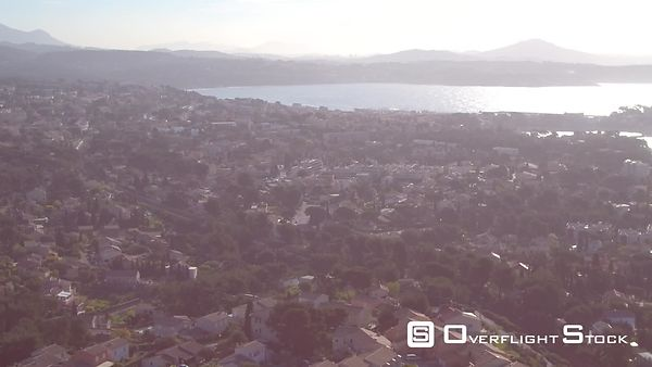 Aerial view of Bandol cityscape in the morning, filmed by drone, Bandol, France
