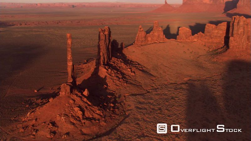 Orbiting Totem Pole Rock in Monument Valley, with lens flares
