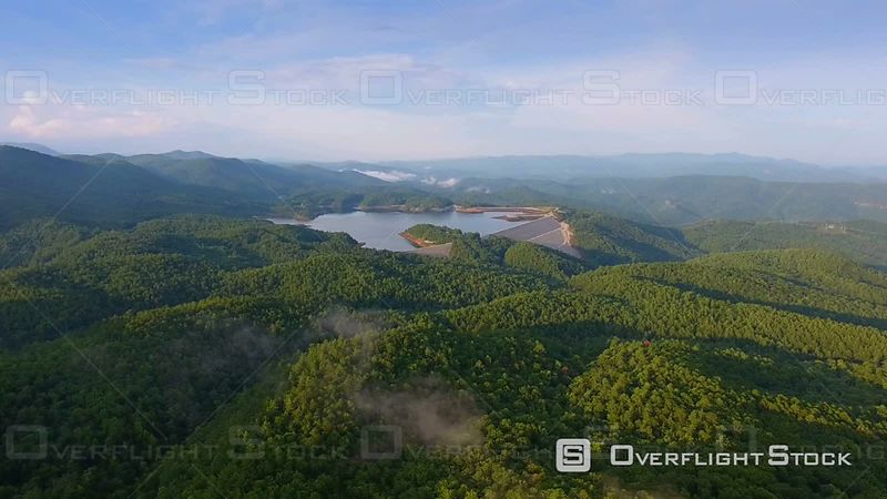 Evening Aerial of Lakes in Upstate South Carolina Blue Ridge Mountains