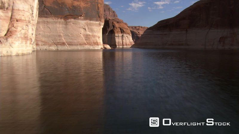 Low flight through Forbidding Canyon on Lake Powell in Utah