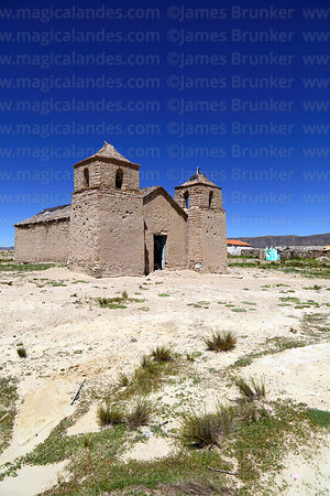 Rustic adobe church at Pasajes, Cordillera de Sama Biological Reserve, Bolivia