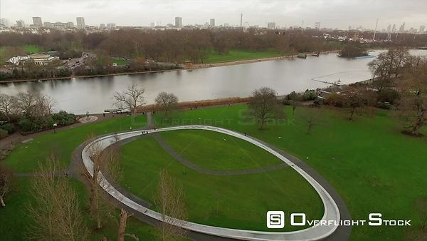 Drone Video Hyde Park Princess Diana Memorial Fountain London UK