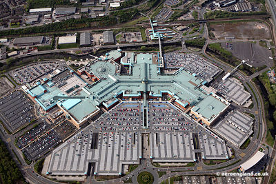 aerial photograph of the Meadowhall Centre  Sheffield
