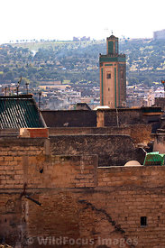 The medina roofline from the upper story of a carpet shop, Fes, Morocco; Portrait