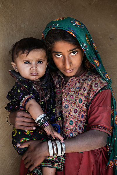 Portrait of Young Children from the Jat Tribe