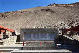 Memorial near mass grave in cemetery where the bodies of political prisoners executed during the military dictatorship were discovered on 2 June 1990 , Pisagua , Region I , Chile
